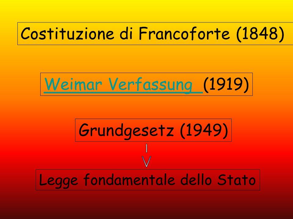 Weimar Verfassung (1919) Grundgesetz (1949) Costituzione di Francoforte (1848) Legge fondamentale dello Stato