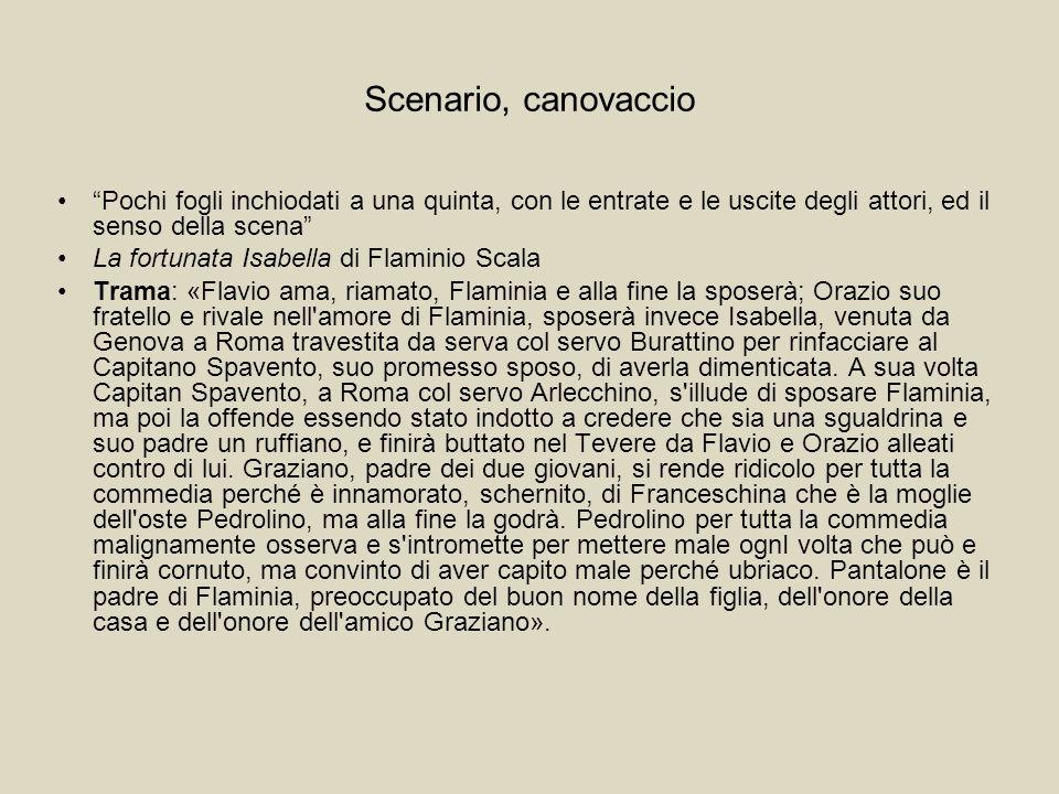 Scenario, canovaccio 02 ORAZIO discorre l amore che porta a Flaminia, e gelosia che ha di Flavio, suo fratello; in quello FLAMINIA alla finestra, e subito dalla strada arriva.