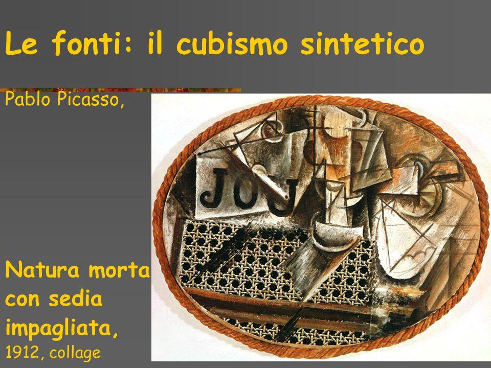Le fonti: il cubismo sintetico Pablo Picasso, Natura morta con sedia impagliata, 1912, collage