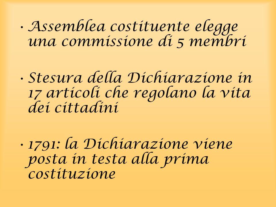 Assemblea costituente elegge una commissione di 5 membri Stesura della Dichiarazione in 17 articoli che regolano la vita dei cittadini 1791: la Dichia