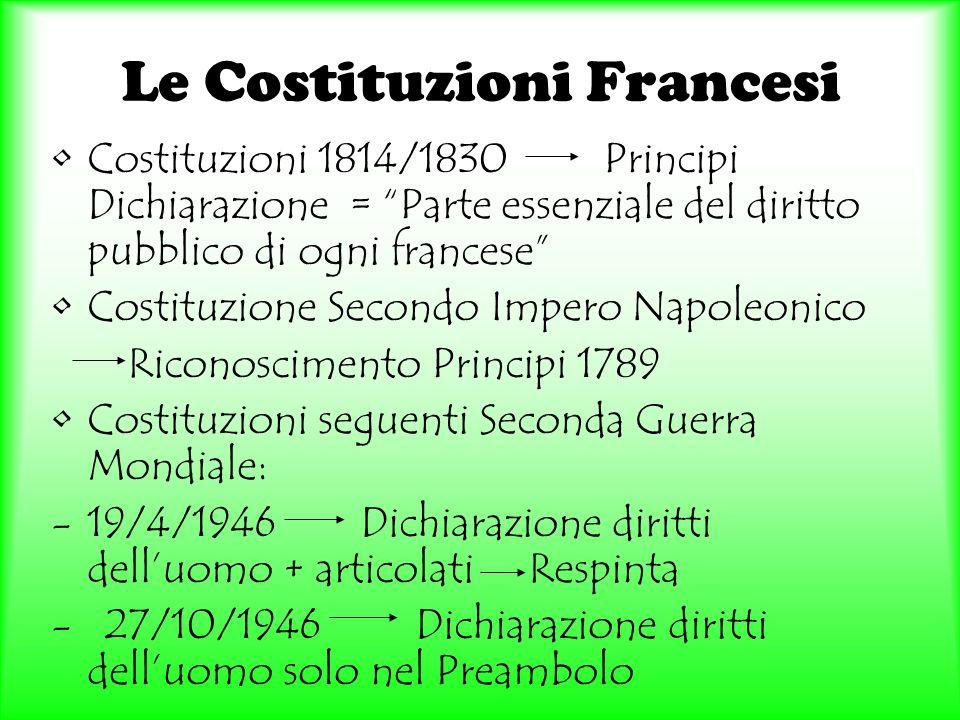 Le Costituzioni Francesi Costituzioni 1814/1830 Principi Dichiarazione = Parte essenziale del diritto pubblico di ogni francese Costituzione Secondo I