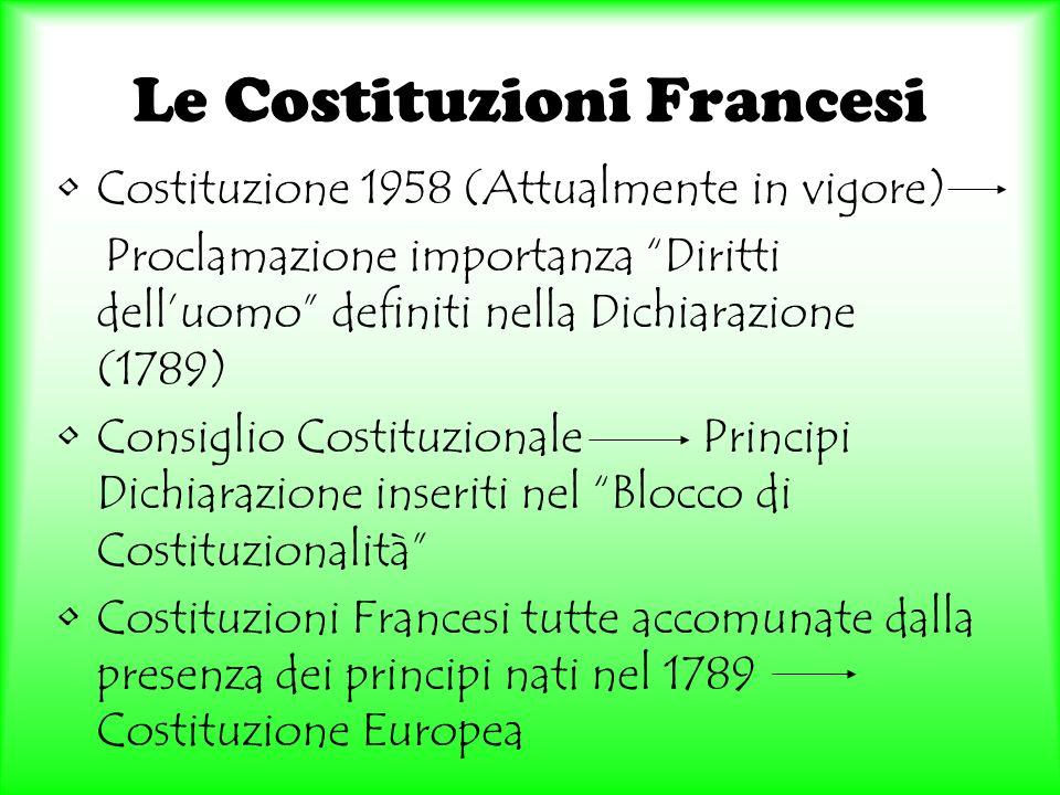 Le Costituzioni Francesi Costituzione 1958 (Attualmente in vigore) Proclamazione importanza Diritti delluomo definiti nella Dichiarazione (1789) Consi