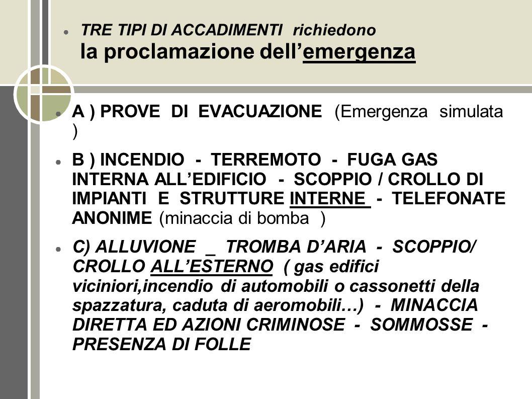 TRE TIPI DI ACCADIMENTI richiedono la proclamazione dellemergenza A ) PROVE DI EVACUAZIONE (Emergenza simulata ) B ) INCENDIO - TERREMOTO - FUGA GAS I