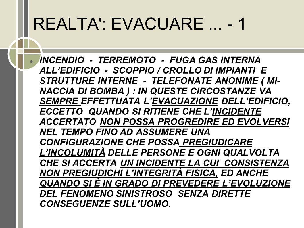 REALTA': EVACUARE... - 1 INCENDIO - TERREMOTO - FUGA GAS INTERNA ALLEDIFICIO - SCOPPIO / CROLLO DI IMPIANTI E STRUTTURE INTERNE - TELEFONATE ANONIME (
