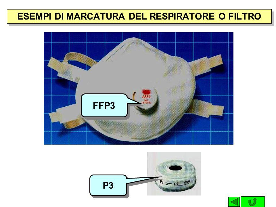 ESEMPI DI MARCATURA DEL RESPIRATORE O FILTRO FFP3 P3