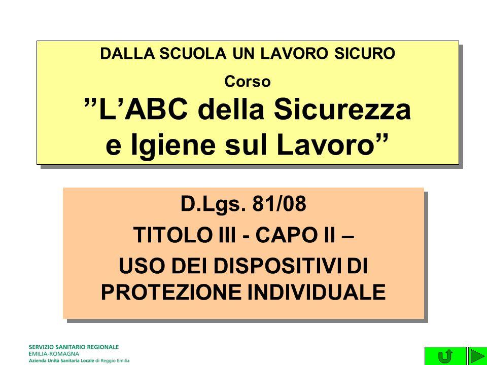 D.Lgs.81/08 TITOLO III - CAPO II – USO DEI DISPOSITIVI DI PROTEZIONE INDIVIDUALE D.Lgs.