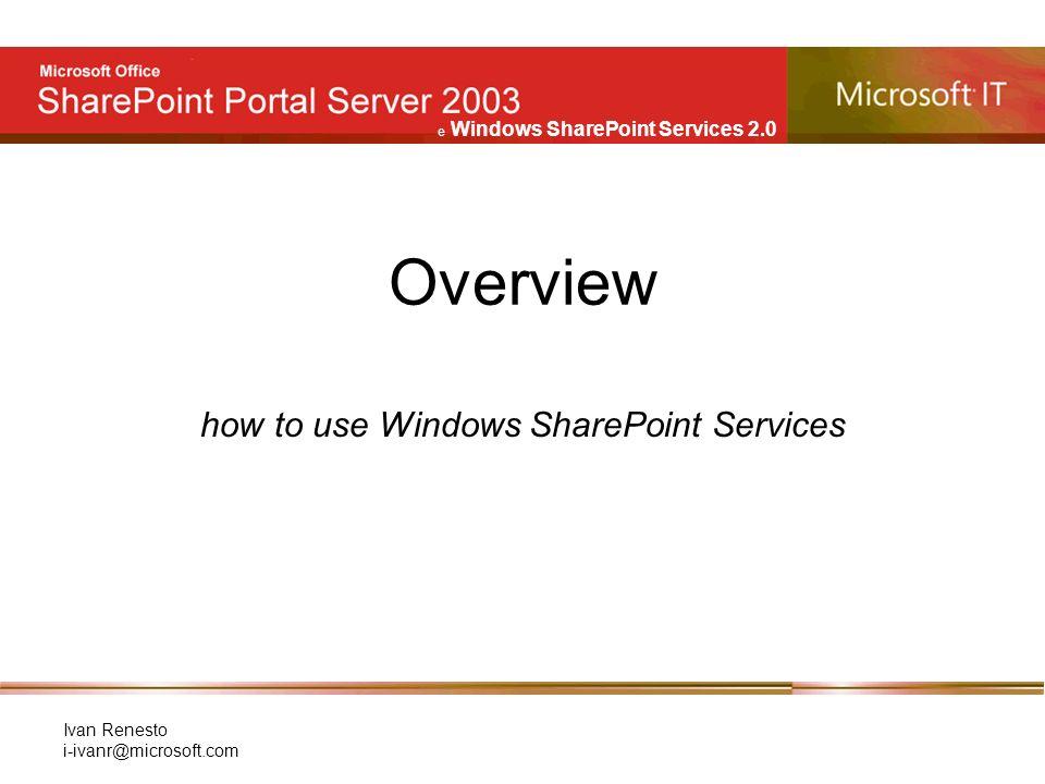 e Windows SharePoint Services 2.0 Ivan Renesto i-ivanr@microsoft.com Web Part: Tasks Web parts Elenco di attività Pulsante per aggiungere una nuova attività Accesso alla lista di attività (Quick Launch)