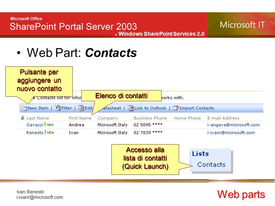 e Windows SharePoint Services 2.0 Ivan Renesto i-ivanr@microsoft.com Web Part: Contacts Web parts Elenco di contatti Pulsante per aggiungere un nuovo contatto Accesso alla lista di contatti (Quick Launch)