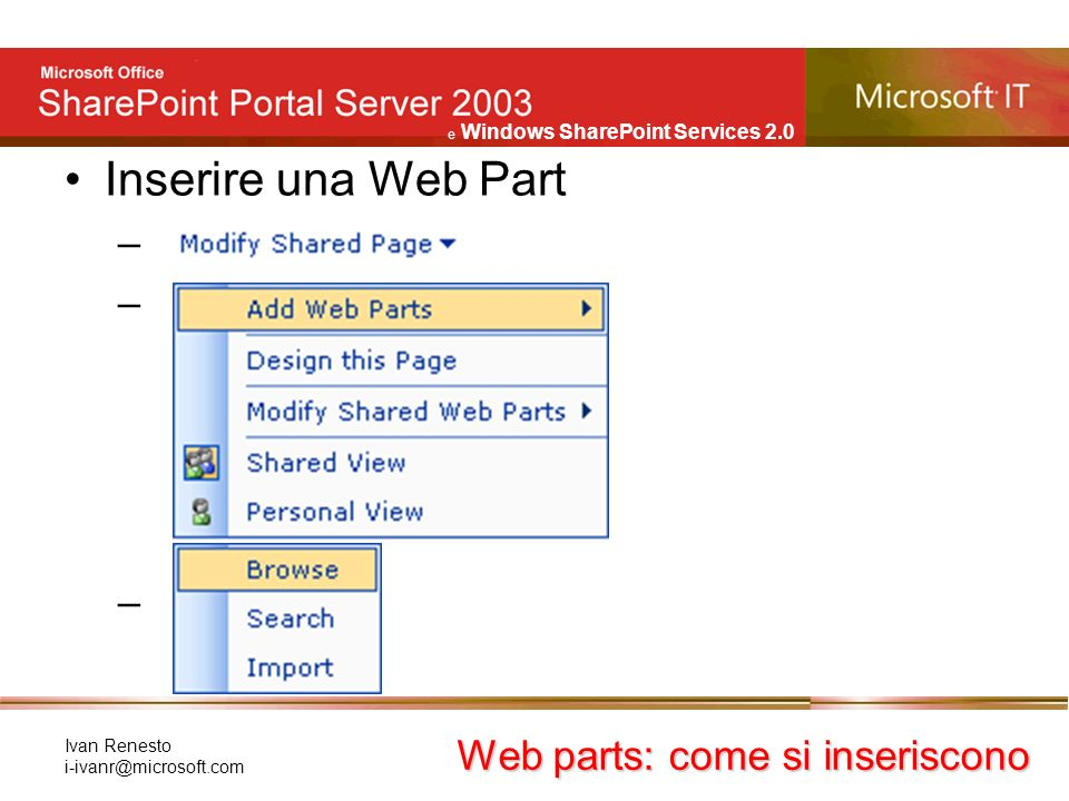 e Windows SharePoint Services 2.0 Ivan Renesto Inserire una Web Part – Web parts: come si inseriscono