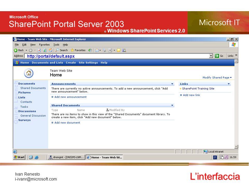 e Windows SharePoint Services 2.0 Ivan Renesto i-ivanr@microsoft.com Linterfaccia si compone di: –una barra principale di comandi (link) Luso dellinterfaccia