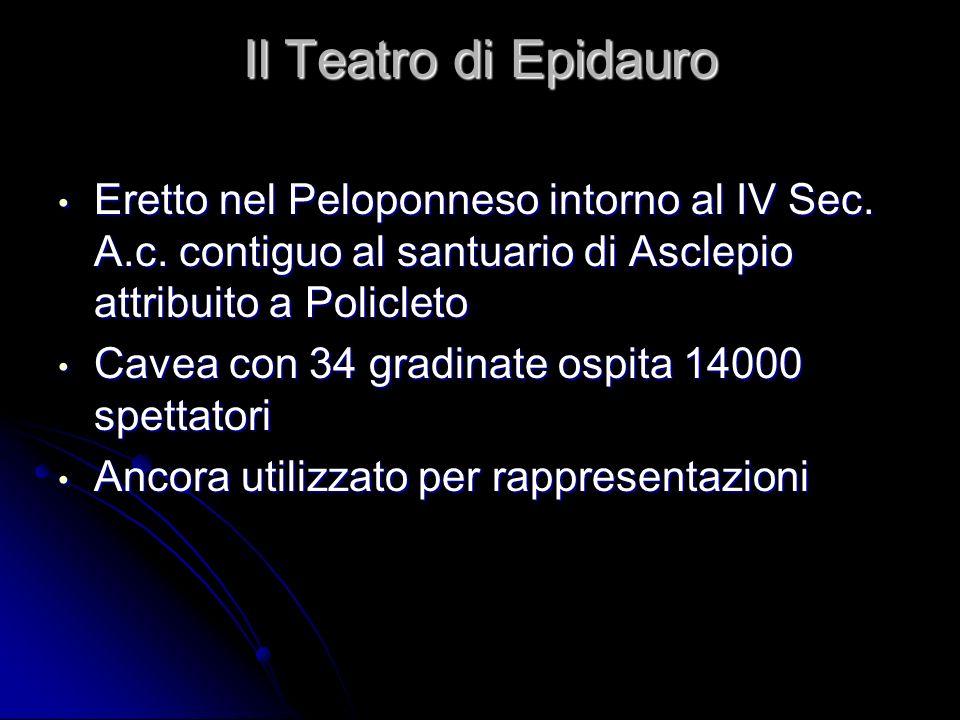 Il Teatro di Epidauro Eretto nel Peloponneso intorno al IV Sec. A.c. contiguo al santuario di Asclepio attribuito a Policleto Eretto nel Peloponneso i