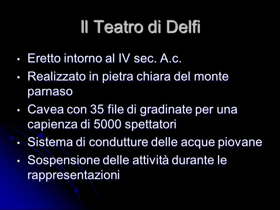 Il Teatro di Delfi Eretto intorno al IV sec. A.c. Eretto intorno al IV sec. A.c. Realizzato in pietra chiara del monte parnaso Realizzato in pietra ch