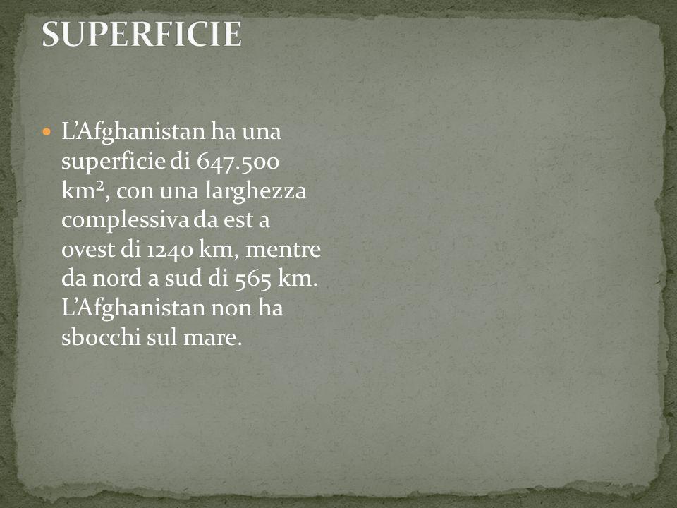 LAfghanistan ha una superficie di 647.500 km², con una larghezza complessiva da est a ovest di 1240 km, mentre da nord a sud di 565 km. LAfghanistan n