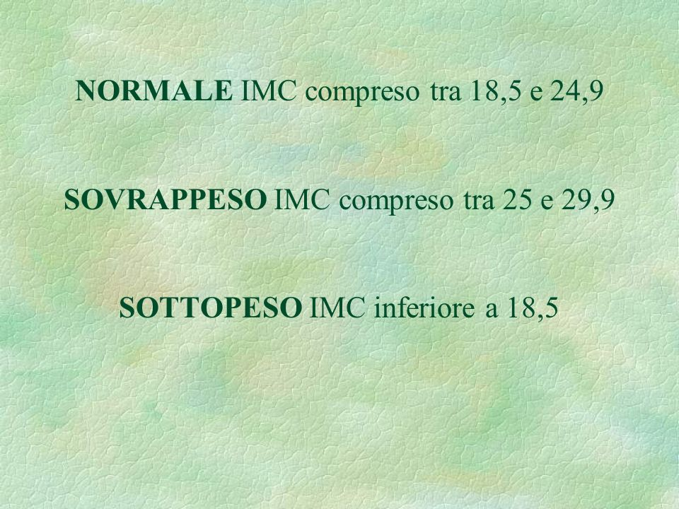 NORMALE IMC compreso tra 18,5 e 24,9 SOVRAPPESO IMC compreso tra 25 e 29,9 SOTTOPESO IMC inferiore a 18,5