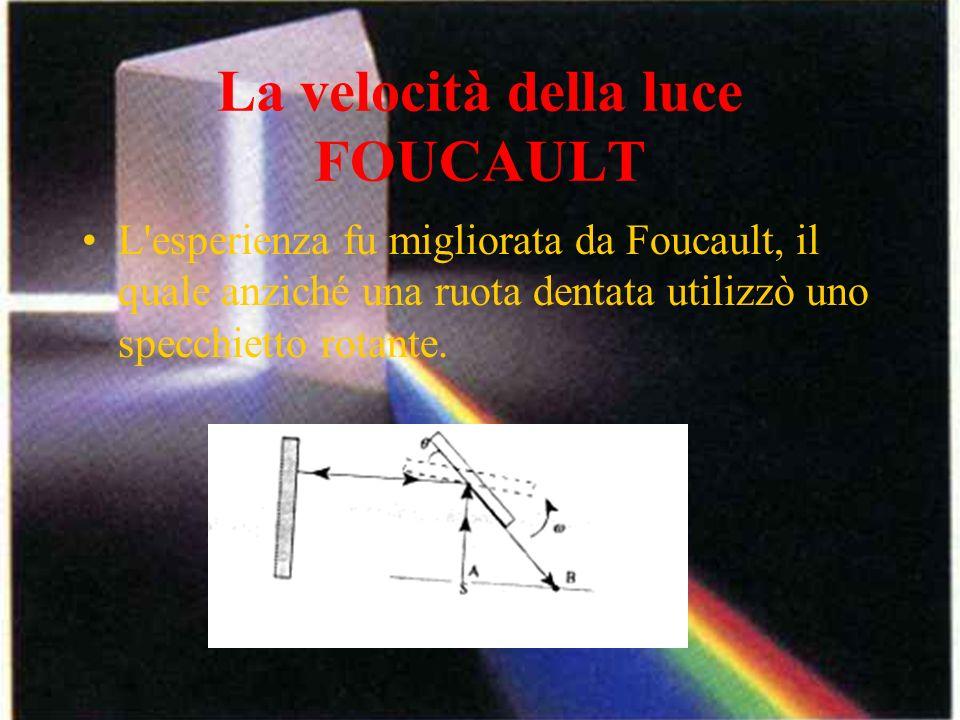 La velocità della luce FOUCAULT L'esperienza fu migliorata da Foucault, il quale anziché una ruota dentata utilizzò uno specchietto rotante.