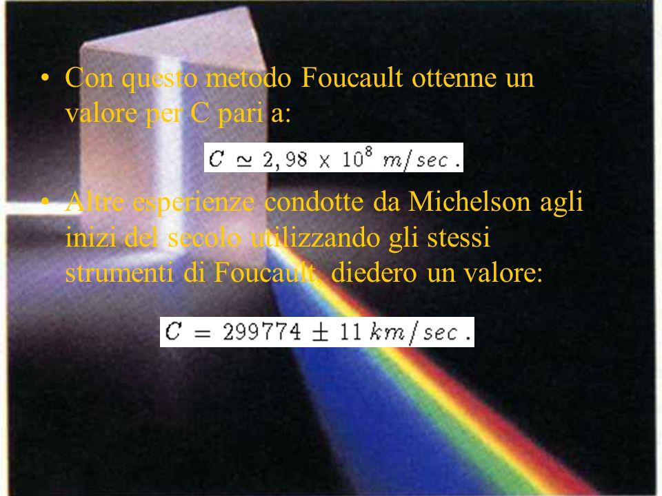 Con questo metodo Foucault ottenne un valore per C pari a: Altre esperienze condotte da Michelson agli inizi del secolo utilizzando gli stessi strumen