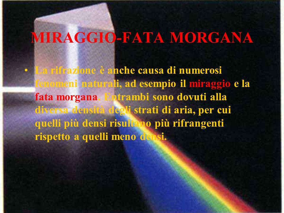 MIRAGGIO-FATA MORGANA La rifrazione è anche causa di numerosi fenomeni naturali, ad esempio il miraggio e la fata morgana. Entrambi sono dovuti alla d