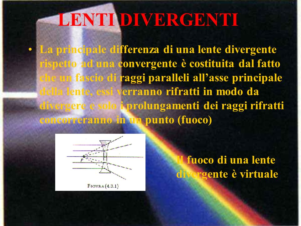 LENTI DIVERGENTI La principale differenza di una lente divergente rispetto ad una convergente è costituita dal fatto che un fascio di raggi paralleli