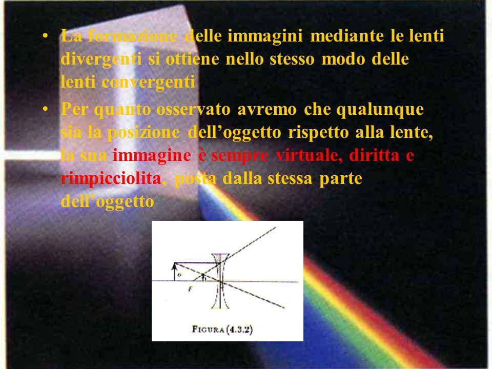 La formazione delle immagini mediante le lenti divergenti si ottiene nello stesso modo delle lenti convergenti Per quanto osservato avremo che qualunq