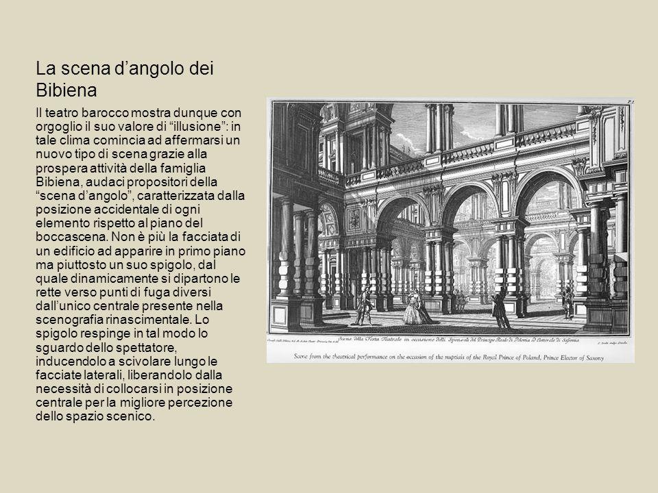 La scena dangolo dei Bibiena Il teatro barocco mostra dunque con orgoglio il suo valore di illusione: in tale clima comincia ad affermarsi un nuovo ti