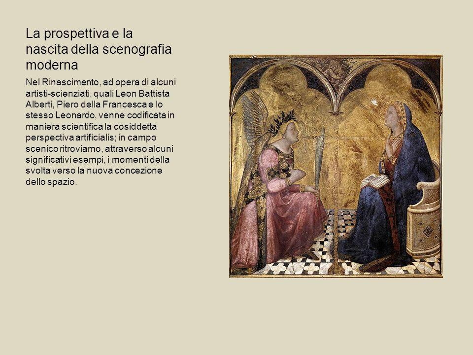 La prospettiva e la nascita della scenografia moderna Nel Rinascimento, ad opera di alcuni artisti-scienziati, quali Leon Battista Alberti, Piero dell