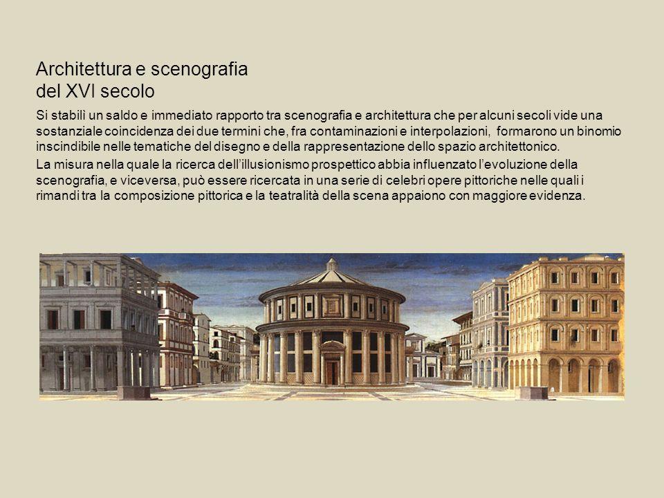 Architettura e scenografia del XVI secolo Si stabilì un saldo e immediato rapporto tra scenografia e architettura che per alcuni secoli vide una sosta