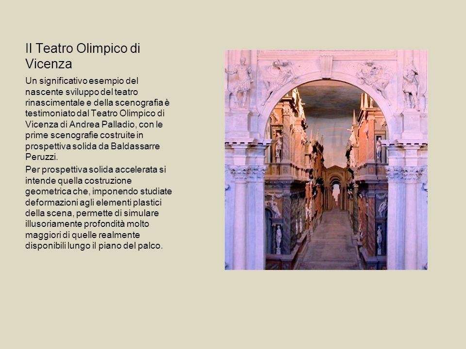 Il Teatro Olimpico di Vicenza Un significativo esempio del nascente sviluppo del teatro rinascimentale e della scenografia è testimoniato dal Teatro O