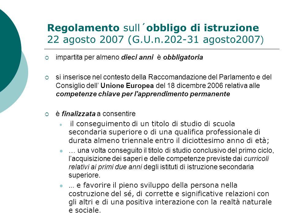 Regolamento sull´obbligo di istruzione 22 agosto 2007 (G.U.n.202-31 agosto2007 ) impartita per almeno dieci anni è obbligatoria si inserisce nel conte