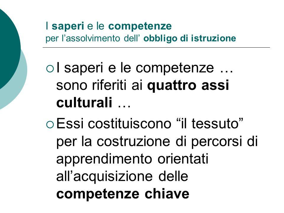 I saperi e le competenze … sono riferiti ai quattro assi culturali … Essi costituiscono il tessuto per la costruzione di percorsi di apprendimento ori