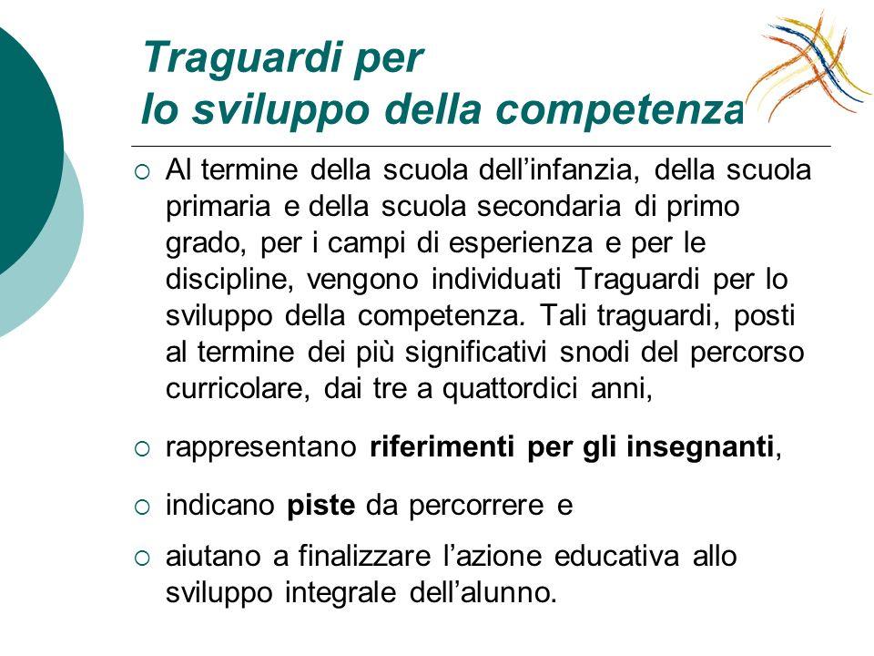 Traguardi per lo sviluppo della competenza Al termine della scuola dellinfanzia, della scuola primaria e della scuola secondaria di primo grado, per i