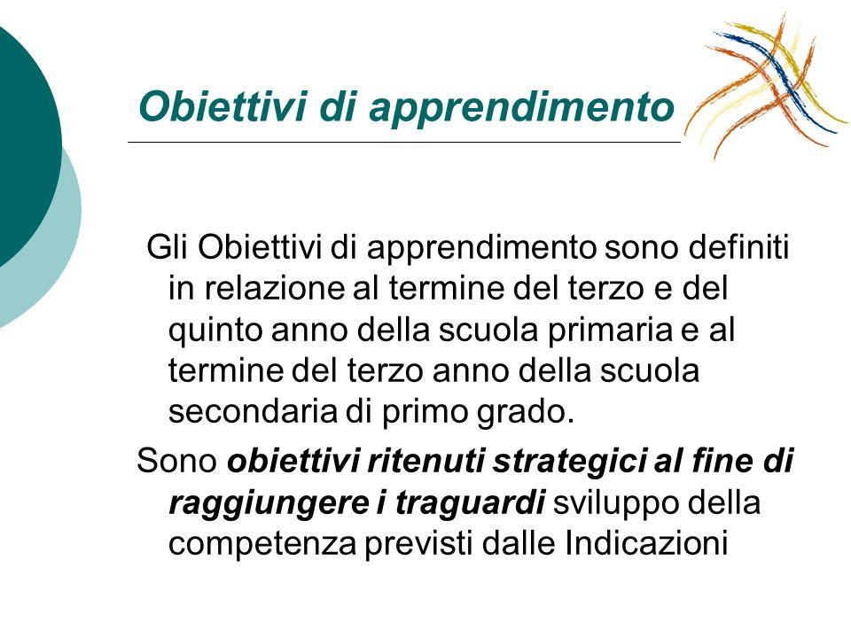 Obiettivi di apprendimento Gli Obiettivi di apprendimento sono definiti in relazione al termine del terzo e del quinto anno della scuola primaria e al