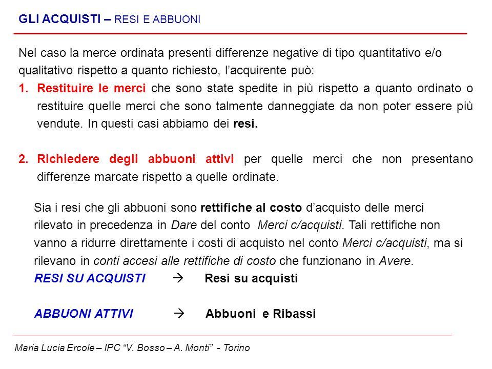Maria Lucia Ercole – IPC V. Bosso – A. Monti - Torino GLI ACQUISTI – RESI E ABBUONI Nel caso la merce ordinata presenti differenze negative di tipo qu