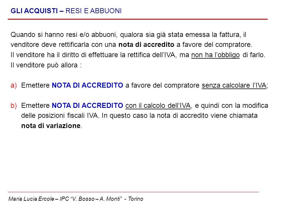 Maria Lucia Ercole – IPC V. Bosso – A. Monti - Torino GLI ACQUISTI – RESI E ABBUONI Quando si hanno resi e/o abbuoni, qualora sia già stata emessa la