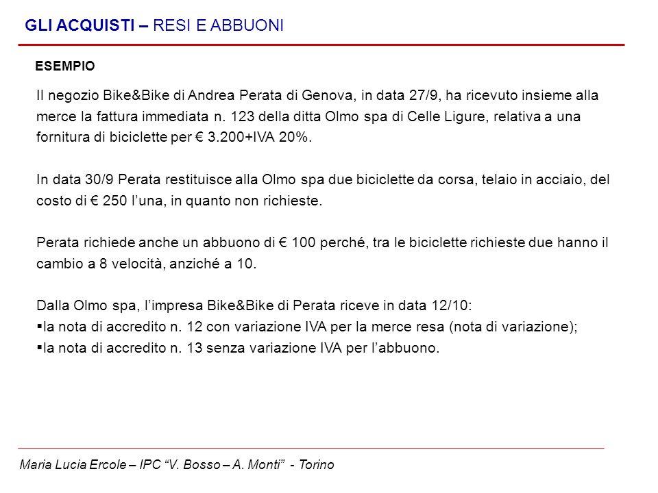 Maria Lucia Ercole – IPC V. Bosso – A. Monti - Torino GLI ACQUISTI – RESI E ABBUONI ESEMPIO Il negozio Bike&Bike di Andrea Perata di Genova, in data 2