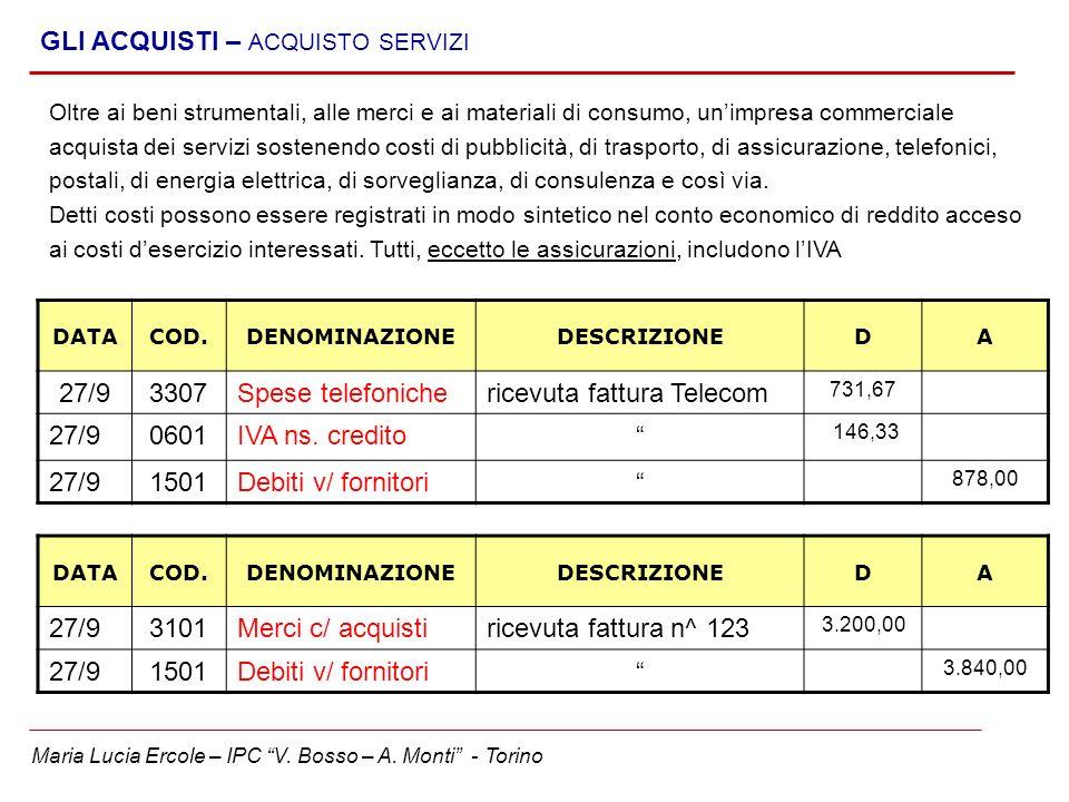 Maria Lucia Ercole – IPC V. Bosso – A. Monti - Torino GLI ACQUISTI – ACQUISTO SERVIZI DATACOD.DENOMINAZIONEDESCRIZIONEDA 27/93307Spese telefonicherice