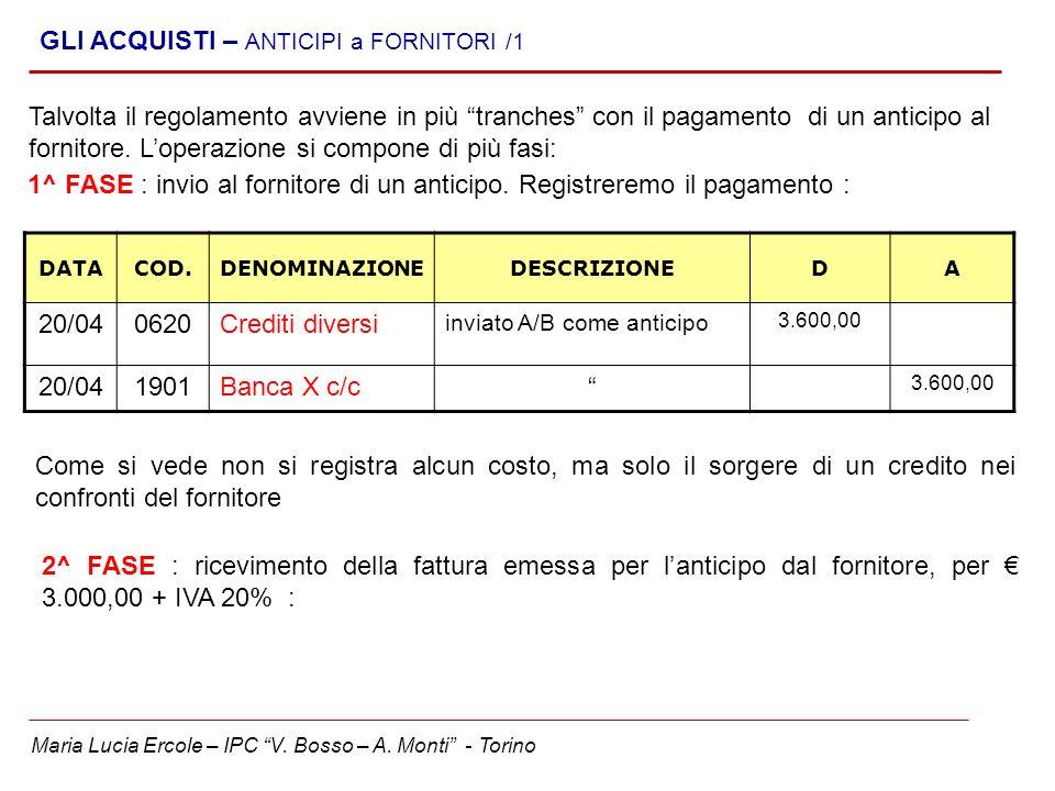 Maria Lucia Ercole – IPC V. Bosso – A. Monti - Torino GLI ACQUISTI – ANTICIPI a FORNITORI /1 Talvolta il regolamento avviene in più tranches con il pa