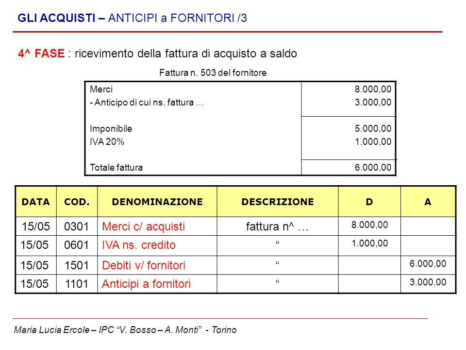 Maria Lucia Ercole – IPC V. Bosso – A. Monti - Torino GLI ACQUISTI – ANTICIPI a FORNITORI /3 4^ FASE : ricevimento della fattura di acquisto a saldo M