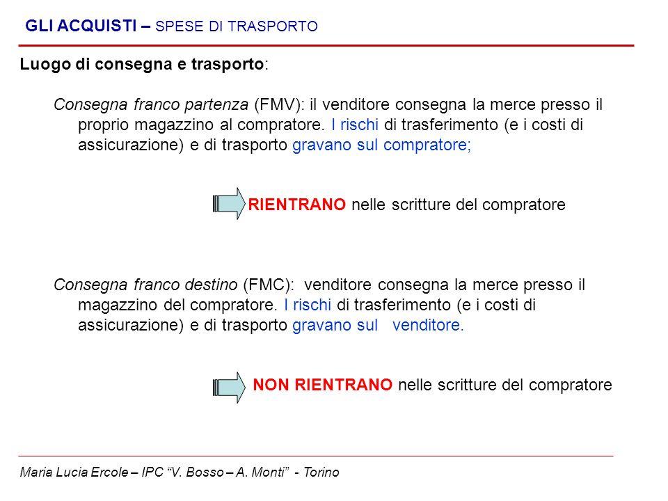Maria Lucia Ercole – IPC V. Bosso – A. Monti - Torino GLI ACQUISTI – SPESE DI TRASPORTO Luogo di consegna e trasporto: Consegna franco partenza (FMV):