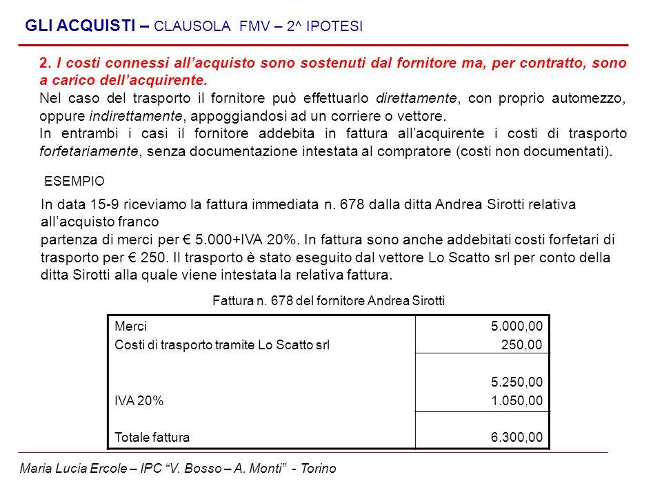Maria Lucia Ercole – IPC V. Bosso – A. Monti - Torino GLI ACQUISTI – CLAUSOLA FMV – 2^ IPOTESI 2. I costi connessi allacquisto sono sostenuti dal forn