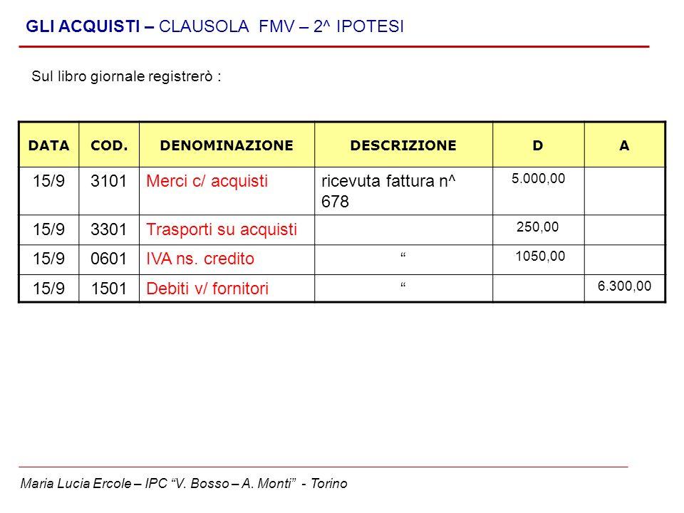 Maria Lucia Ercole – IPC V. Bosso – A. Monti - Torino GLI ACQUISTI – CLAUSOLA FMV – 2^ IPOTESI DATACOD.DENOMINAZIONEDESCRIZIONEDA 15/93101Merci c/ acq