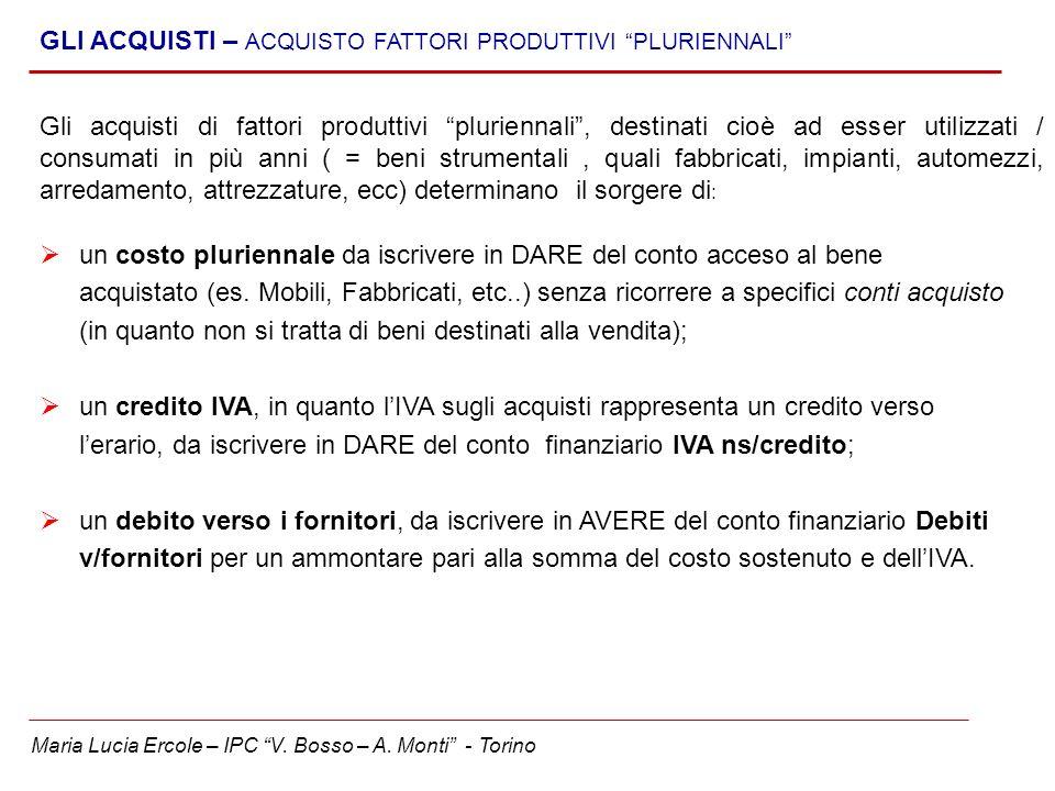 Maria Lucia Ercole – IPC V. Bosso – A. Monti - Torino GLI ACQUISTI – ACQUISTO FATTORI PRODUTTIVI PLURIENNALI Gli acquisti di fattori produttivi plurie