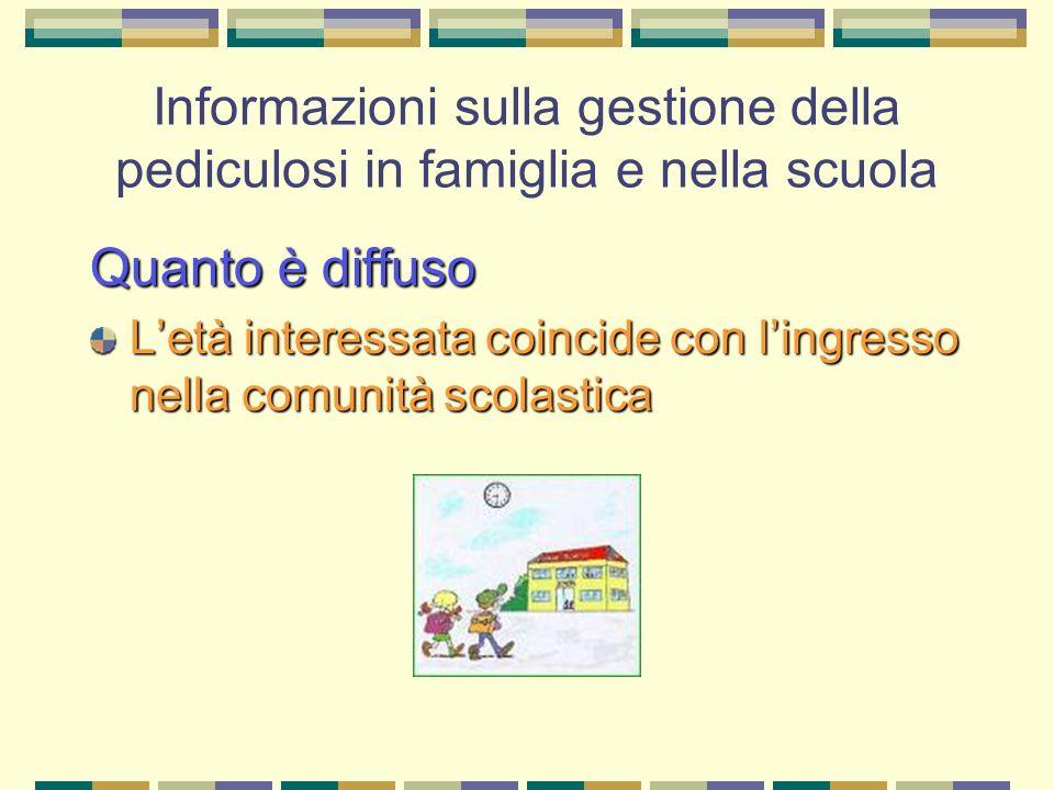 Informazioni sulla gestione della pediculosi in famiglia e nella scuola Quanto è diffuso Letà interessata coincide con lingresso nella comunità scolas