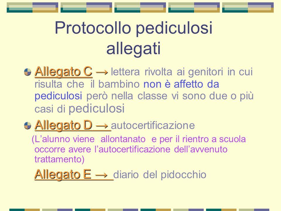 Protocollo pediculosi allegati Allegato C Allegato C lettera rivolta ai genitori in cui risulta che il bambino non è affetto da pediculosi però nella