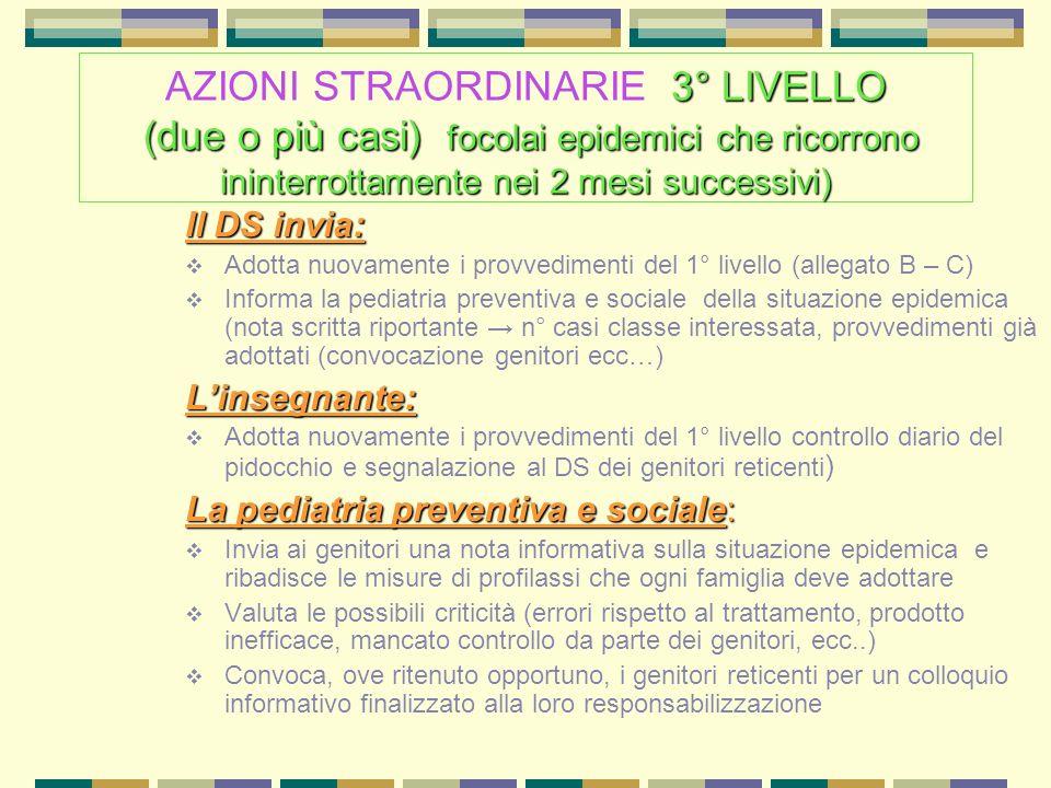 3° LIVELLO (due o più casi) focolai epidemici che ricorrono ininterrottamente nei 2 mesisuccessivi) AZIONI STRAORDINARIE 3° LIVELLO (due o più casi) f