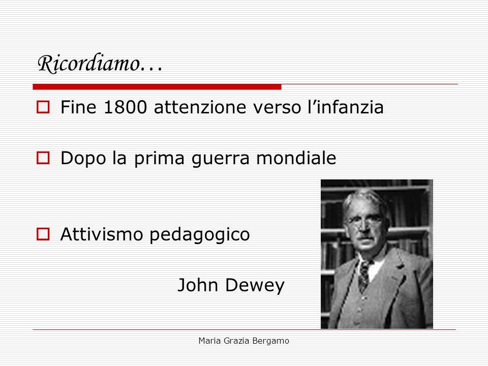Maria Grazia Bergamo Ricordiamo… Fine 1800 attenzione verso linfanzia Dopo la prima guerra mondiale Attivismo pedagogico John Dewey