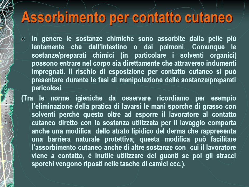 Assorbimento per contatto cutaneo In genere le sostanze chimiche sono assorbite dalla pelle più lentamente che dallintestino o dai polmoni.