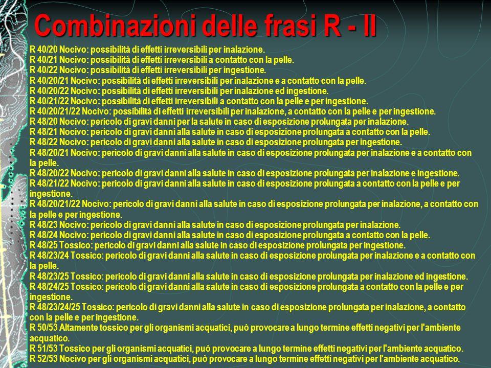 Combinazioni delle frasi R - II R 40/20 Nocivo: possibilità di effetti irreversibili per inalazione.