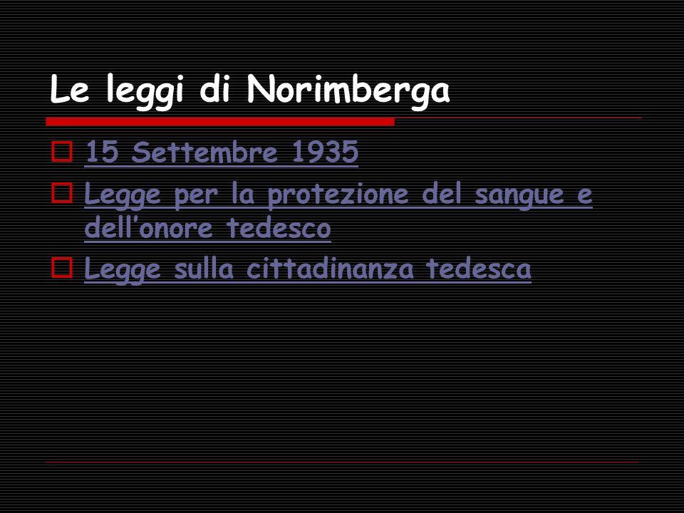 15 Settembre 1935 Le Leggi di Norimberga In occasione del congresso del partito nazionalsocialista, vengono approvate per acclamazione due terribili leggi, che passeranno alla storia come le famigerate Leggi di Norimberga.