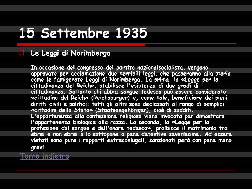 15 Settembre 1935 Le Leggi di Norimberga In occasione del congresso del partito nazionalsocialista, vengono approvate per acclamazione due terribili l