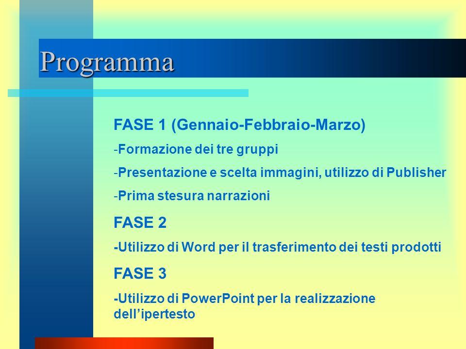 Programma FASE 1 (Gennaio-Febbraio-Marzo) -Formazione dei tre gruppi -Presentazione e scelta immagini, utilizzo di Publisher -Prima stesura narrazioni
